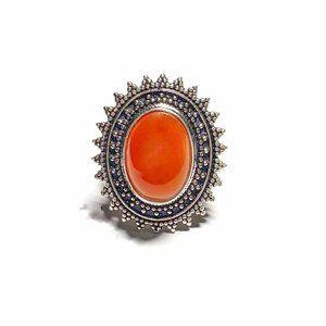 Natural Carnelian Gemstone Ring (7.5)